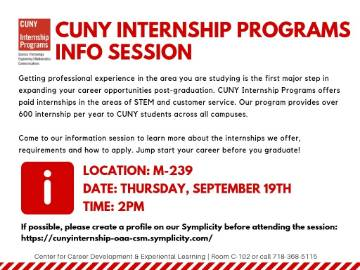 CUNY INTERNSHIP PROGRAM INFORMATION SESSION