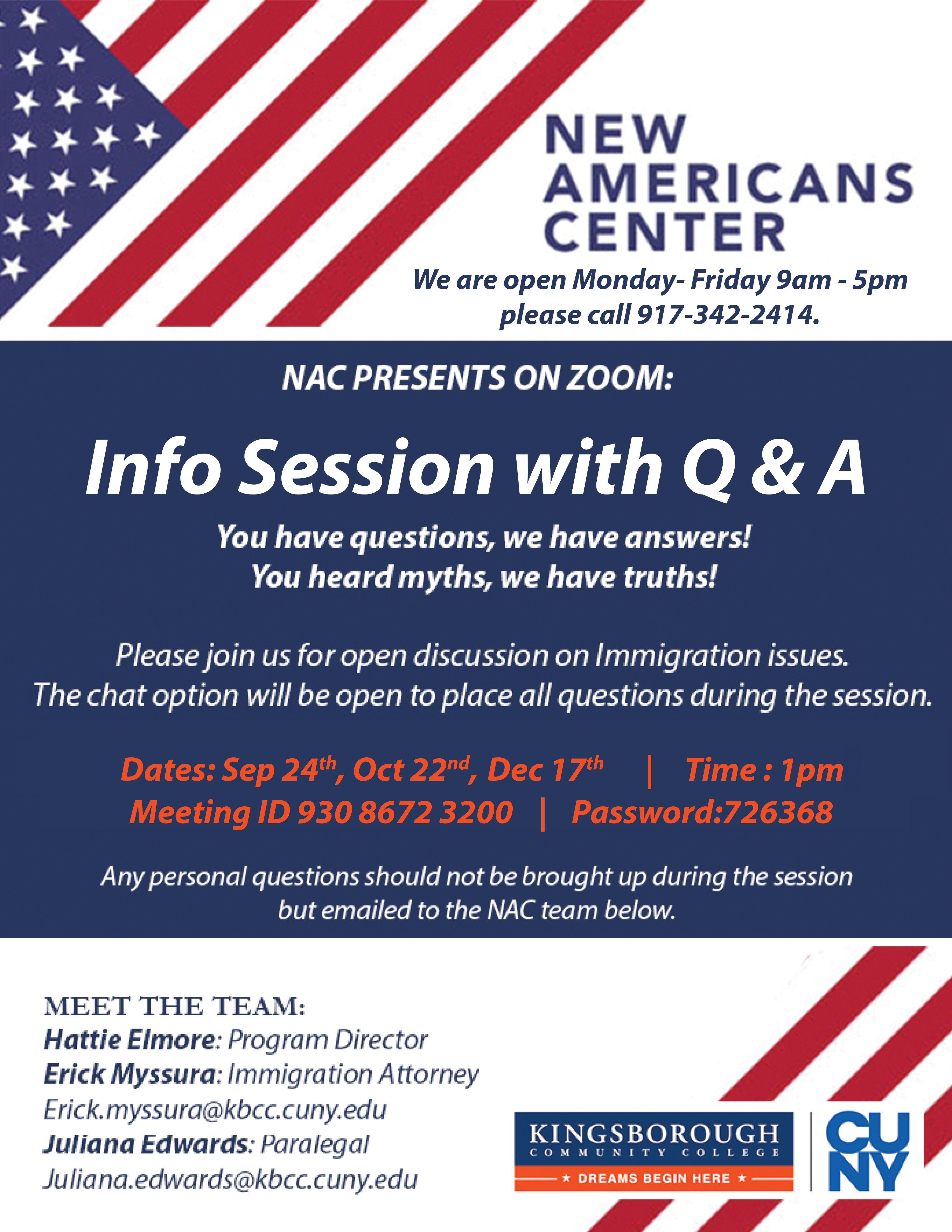NAC info and Q&A Session
